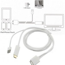 1pc Dock to HDMI HDTV TV ADAPTER USB CABLE for Apple for iPhone 4 4S for iPad 2 3 for iPod Newest