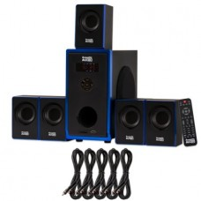 Acoustic Audio AA5102 Home Theater 5.1 Speaker System with 5 Extension Cables Surround Sound