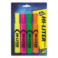 Avery(R) HI-LITER(R) Desk-Style Highlighters, Assorted Colors (1 Fl. Yellow, 1 Fl. Pink, 1 Fl. Green, 1 Fl. Orange) SmearSafe(TM), Nontoxic, Pack of 4 (24063)