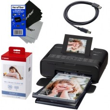 """Canon Selphy CP1200 Wireless Color Photo Printer (Black) + Canon KP-108IN Color Ink Paper Set (Produces up to 108 of 4 x 6"""" prints) + USB Printer Cable + 2 HeroFiber® Ultra Gentle Cleaning Cloths"""