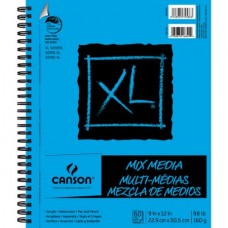 "Canson XL Mix Media 9"" x 12"" 60-Sheet Side Wire Bound Paper Pad"