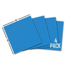 "Click n' Play Blue Building Brick Baseplates - 10"" x 10"" - (Pack of 4) Tight Fit-Lego Compatible"