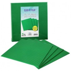 """Click n' Play Green Building Brick Baseplates - 10"""" x 10"""" - (Pack of 4) Tight Fit-Lego Compatible"""