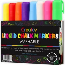 Liquid Chalk Washable Markers, 8 Colored Chalk Markers, Neon & White, Safe & Easy to Use, Non-Toxic, Great For All Ages, By Creatov®